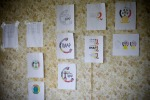 The first round of developed logos are posted to the wall for group critique